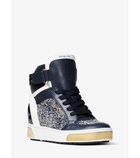 Pia High Top Leather And Tweed Sneaker Navy White