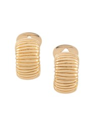 Christian Dior 1980S Pre Owned Textured Clip On Earrings Gold