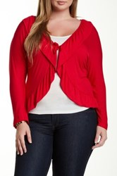 24 7 Comfort Ruffle Tie Front Shrug Plus Size Red