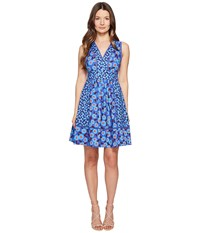 Kate Spade Full Plume Tangier Floral Fit And Flare Dress Cobalt Blue Women's Dress