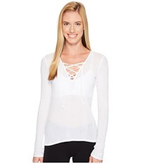 Alo Yoga Interlace Long Sleeve Top White Women's Clothing