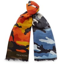Valentino Camouflage Print Modal And Cashmere Blend Scarf Multi