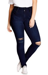 City Chic Plus Size Women's Harley Ripped High Rise Skinny Jeans Indigo