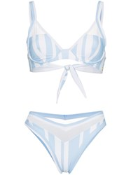 Ambra Maddalena Puppy Love Striped High Waist Bikini Blue