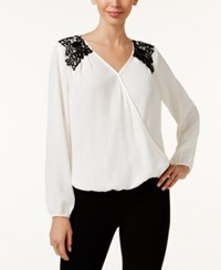 Thalia Sodi Lace Shoulder Surplice Blouse Only At Macy's Washed White