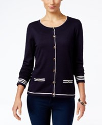 Karen Scott Petite Resort Striped Cardigan Only At Macy's Rich Navy Cmbo