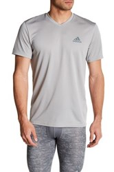 Adidas Climalite V Neck Short Sleeve Tee Gray