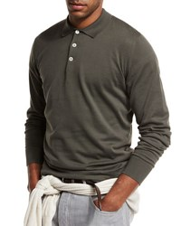 Brunello Cucinelli Long Sleeve Polo Shirt Hunter