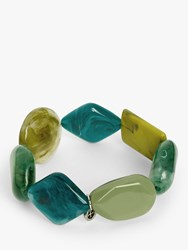 One Button Asymmetric Bead Stretch Bracelet Sea Green Multi