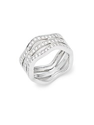 Kwiat Wave Diamond And 18K White Gold Fancy Ring Silver