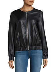 Michael Michael Kors Perforated Faux Leather Jacket Black