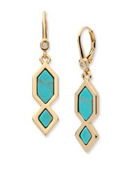 Ivanka Trump Turquoise Re Constituted Stone Double Drop Earrings