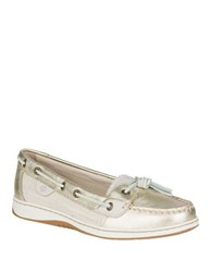 Sperry Dunefush Metallic Leather Boat Shoes Gold