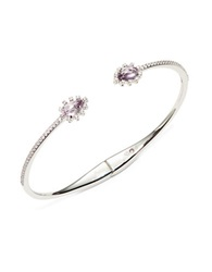 Nadri Amethyst Cubic Zirconia And Sterling Silver Open Bangle Bracelet Purple