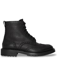 Burberry Brogue Detail Grainy Leather Boots Black