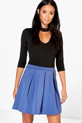 Boohoo Scuba Box Pleat Skater Skirt Vintage Blue
