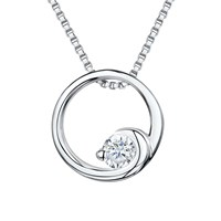 Jools By Jenny Brown Cubic Zirconia Crashing Wave Circle Necklace Silver