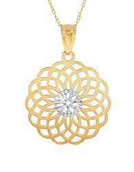 Lord And Taylor 14K Pdc Yellow Gold Rhodium Geometric Burst Pendant Necklace