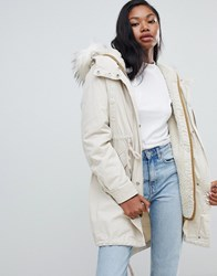 Bershka Long Line Parka With Faux Fur Hood Multi