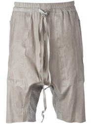 Isaac Sellam Experience Track Shorts Men Calf Leather S Grey