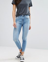New Look Two Tone Raw Edge Skinny Jeans Pale Blue