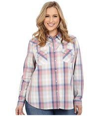 Roper Plus Size 0200 Ombre Plaid Shirt Blue Women's Long Sleeve Button Up