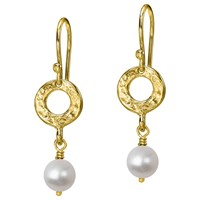 Dower And Hall Open Circle Freshwater Pearl Drop Earrings Gold White