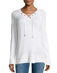 Calvin Klein V Neck Lace Up Sweater Soft White