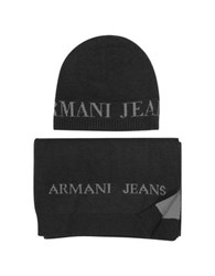 Armani Jeans Signature Knitwear Set Of Hat And Long Scarf Anthracite