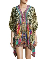 Camilla Embellished Lace Up Silk Caftan Coverup Kingdom Call