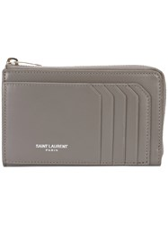 Saint Laurent 5 Fragments Zip Pouch Women Calf Leather One Size Grey