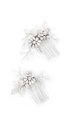 Jenny Packham Lazuline Mini Crystal Comb Set Crystal Silver