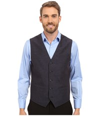 Perry Ellis Linen Cotton End On End Suit Vest Navy Men's Vest