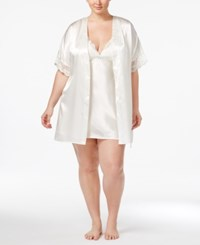Flora Nikrooz By Plus Size Emma Lace Trimmed Charmeuse Wrap Robe Ivory