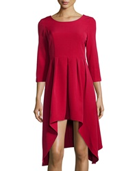 Neiman Marcus 3 4 Sleeve Pleated High Low A Line Dress Red