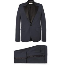 Saint Laurent Navy Slim Fit Satin Trimmed Virgin Wool Tuxedo Navy