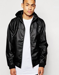 D Struct Beven Faux Leather Hooded Bomber Jacket Black