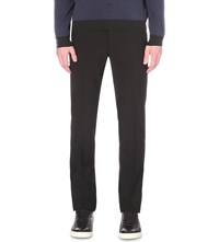 Armani Collezioni Regular Fit Wool Trousers Navy