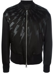 Neil Barrett Lightning Bolt Print Bomber Jacket Black