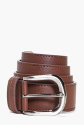 Boohoo Pu Belt With Metal Buckle Dark Brown