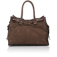 Zagliani Women's Python Trimmed Gatsby Large Tote Brown