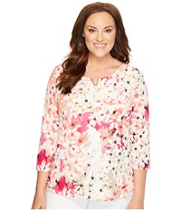Calvin Klein Plus Size 3 4 Sleeve With Hardware Rose Floral Print Women's Clothing Multi