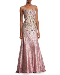 Theia Strapless Ombre Sequin Gown W Beaded Bodice Peony