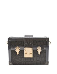 La Regale Croc Mini Luggage Clutch Grey