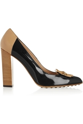 Tod's Two Tone Leather And Patent Pumps Black