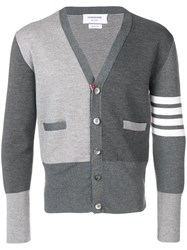 Thom Browne Jersey Stitch Merino Cardigan Grey