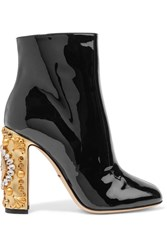 Dolce And Gabbana Embellished Patent Leather Ankle Boots Black