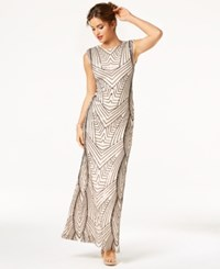 As U Wish Juniors' Sequin Cutout Gown Black Nude