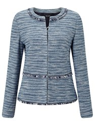 Gerry Weber Tweed Edge To Edge Jacket Blue