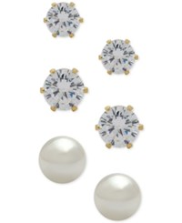 Anne Klein 3 Pc. Set Crystal And Imitation Pearl Stud Earrings Gold